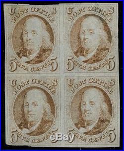 #1 5¢ 1847 FINE USED BLK/4 LOOKS UNUSED LIGHT CANCEL With PF CERT WLM3214