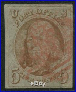 #1 5c 1847 VF USED With RED GRID CANCEL (TINY CORNER CRS @ L. R.) CV $400 BU8898