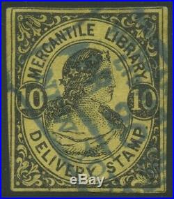 #105L6 10c MERCANTILE LIBRARY LOCAL ON YELLOW PAPER VF USED CV $750 HW4975