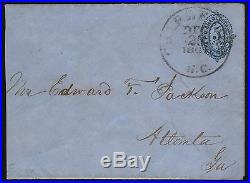 #16xu5 Confederate Postmaster's Provisional Used Blue 5¢ Entire X-ferrary Wl6289