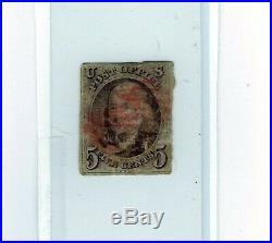 1847 STAMPS US SCOTT 1 Franklin 5 CENT USED CV $700 STAMPED CANCEL
