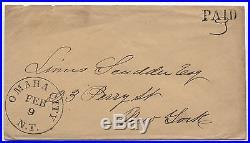 1850s Omaha Nebraska Territory paid 3 stampless cover ASCC $650! 1250