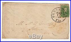 1862 CSA Confederate Cover with SC 1a Pensacola, Florida to Selma, Alabama