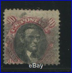 1869 US Stamp #122 90c Used Average Faint Cancel Faults Catalogue Value $1700