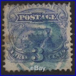 1875, US 3c, Used, Locomotive Baldwin, Sc 125, Blue cancel, Rare