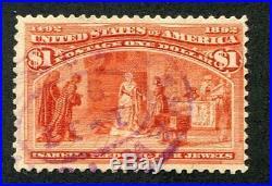 1893 U. S. Scott #241 One Dollar Columbian Expo Stamp Used Purple Cancel