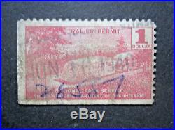 1940 RVT2 $1 Nat'l Park Trailer Permit Tax Revenue Stamp Yosemite rare date cxl