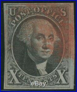 #2 10c 1847 VF-XF 4 MARGINS USED WITH RED CANCEL CV $1,225+ HW5316