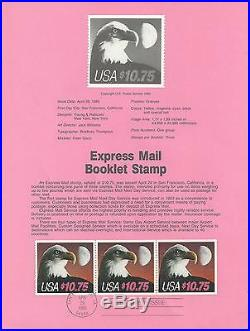 # 2122a EXPRESS MAIL BOOKLET STAMP BOOKLET PANE OF THREE 1985 Souvenir Page