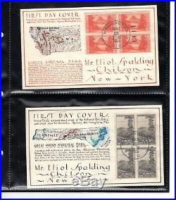 #756-65 George Laffert Hand-Drawn Set/10 National Parks FDCs 1935 Listing Copies