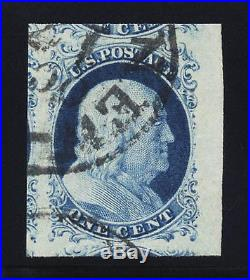 #9, 1c 1851 Type IV, USED, GEM, JUMBO, 2013 PSE (graded 100J), SMQ is $2,250