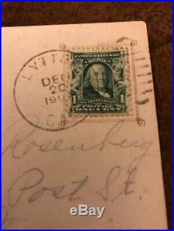 Benjamin Franklin RARE ANTIQUE 1907-9 one 1 CENT STAMP On Postcard