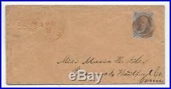C1850 Brattleboro VT #1 5 cent 1847 embossed ladies' cover 5379.4