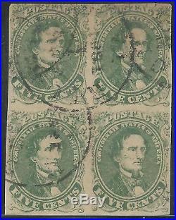 CSA Scott #1 Stone 1 Used Block of 4 Confederate Stamps Richmond, VA Nov 11 1861