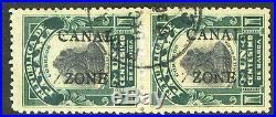 Canal Zone 22e Used 1c Portrait Double Overprint Error Pair $550.00+ 5C19 12