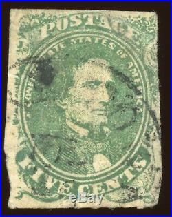 Confederate CSA Scott #1 1861 5c Green Black CDS Lovely Deep Rich Color