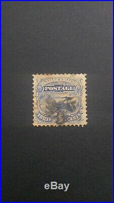 DTG US Stamp 1869' 3 cent Ultramarine without grill, Scott #114a