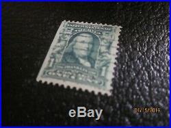 F-VF Rare 1901-1908 Benjamin Franklin 1 cent stamp used #300 Green line error