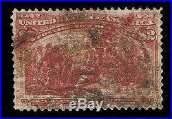 Genuine Scott #242 Used 1893 $2 Brown Red Columbian Expo Scv $575 Estate Sale