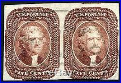 HERRICKSTAMP UNITED STATES Sc. # 12 5¢ Red Brown Used Pair, Large Margins