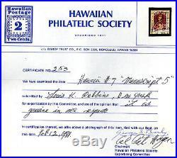 Hawaii Scott 7 Used Manuscript 5 GEM HPS Cert cv $10,000.00+ 7DM20 5