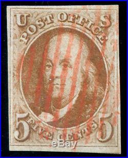 Momen US Stamps #1d Used Brown Orange VF WEISS Cert