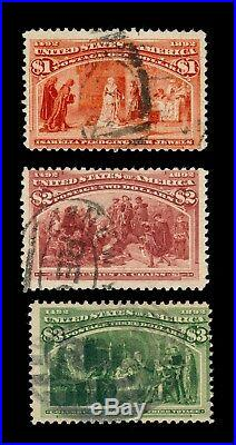 Momen Us Stamps #241-243 Used $1-$3 Columbians