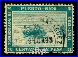 PUERTO RICO 1893 COLUMBUS landing 400th Anniv 3c gr Sc#133 used Playa MAYAGUEZ