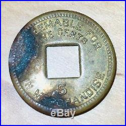 Palo Seco Canal Zone 5 Cents Leper Colony Token Coin 1919 C (21) Rarity Brass
