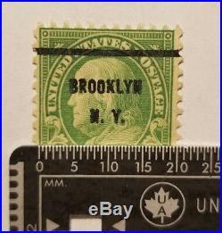 RARE 1 Cent Green Benjamin Franklin STAMP Used Pref 11 1/2 x 10 1/2 Brooklyn, NY