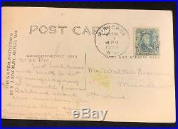 RARE Benjamin Franklin One Cent Stamp Rare w 1909 Minocqua WI Postmark