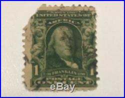 Rare 1902 Benjamin Franklin 1 cent stamp used #300