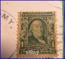 Rare 1902 Series Benjamin Franklin 1 cent stamp #300 1908 Postmark