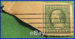 Rare 1908 Benjamin Franklin one cent stamp #A138 Green Line Left Guideline