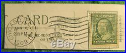 Rare 1908 Benjamin Franklin one cent stamp #A138 Green Line Postmarked 1909