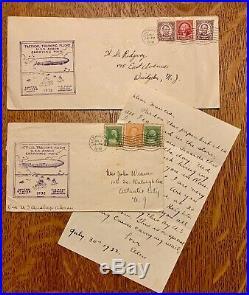 Rare 1932 ERROR Cancel Airmail Flown on USS Akron Airship Cover Graf Zeppelin