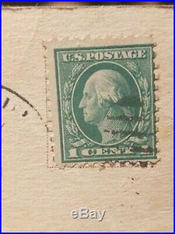 Rare George Washington 1 Cent Stamp Used on postcard dated August 11, 1913