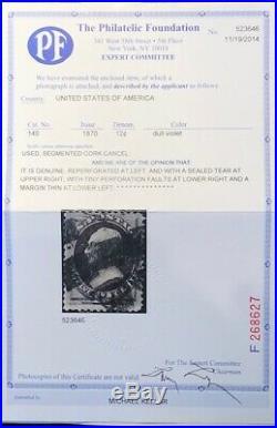 SCOTT #140 12c DULL VIOLET GRILL, USED, PF CERT, CATALOG $3750, APS MEMBER