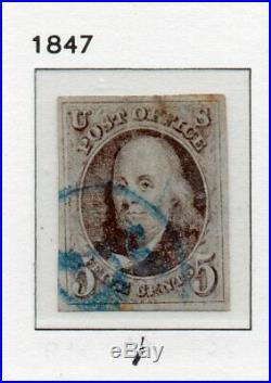 Scott 1 Used 4 Margin 5c Ben Franklin US First Stamp withBlue 5c Cancel