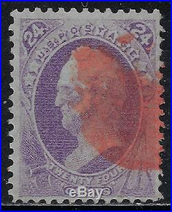 Scott 153 1870 24 Cent Winfield Scott Regular Issue Red Cancel Used Vf Cat $235