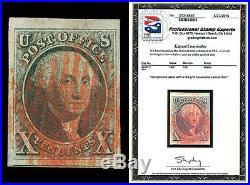 Scott 2 1847 10¢ Washington Used XF JUMBO! WithRed Cancels Cat $825 with PSE CERT