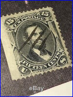 Scott #98 Used 1868 Abraham Lincoln Very Thin Paper Variety Stamp CV $475.00