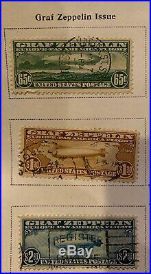 Set Original US Graf Zeppelin Airmail Stamps & Other Early Airmail Stamps
