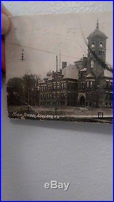 Stamp Vintage Ben Franklin 1 Cent Us Postage Flag Cancelled 1907 With Postcard United States