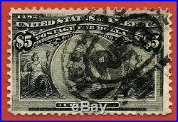 Sto135 1893 Scott#245 used $5 Black Columbus