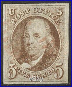 U. S. #1 Used 1847 5c Red Brown ($350)