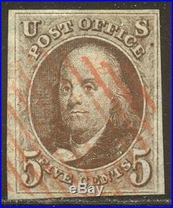 U. S. #1 Used BEAUTY 1847 5c Brown