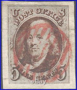 U. S. 1a 1847 Used On Piece FVF (51418)