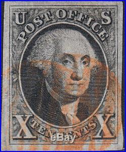 U. S. 2 1847 Used VFXF++ 4 Margin, RARE Orange Ccl. (61119)