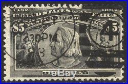 U. S. #245 Used BEAUTY withCert 1893 $5.00 Columbian
